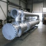 Biogas cooling heating heat exchanger